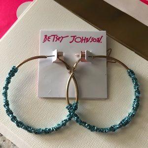 🆕Betsey Johnson Hoop Magic Teal Twist Earrings